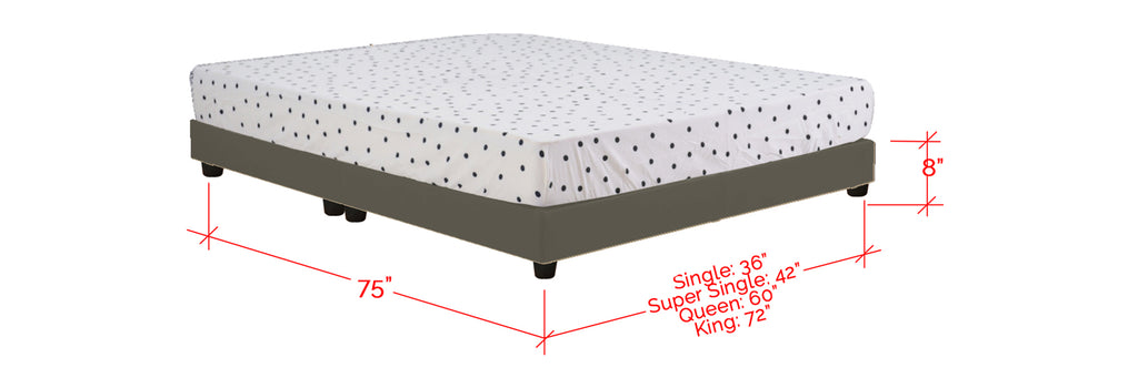 Basic Series Fabric Divan Bed Frame Light Grey In Single, Super Single, Queen and King Size