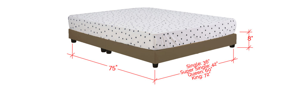 Basic Series Leather Divan Bed Frame Latte In Single, Super Single, Queen and King Size