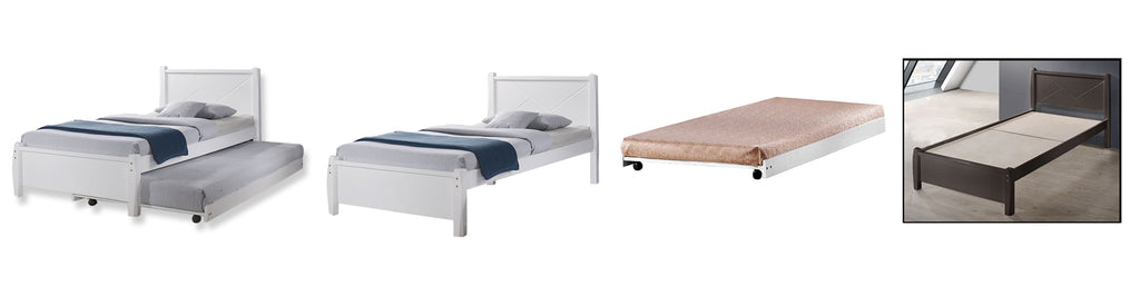 Bonia Wooden Bed Frame White And Walnut In Single Size