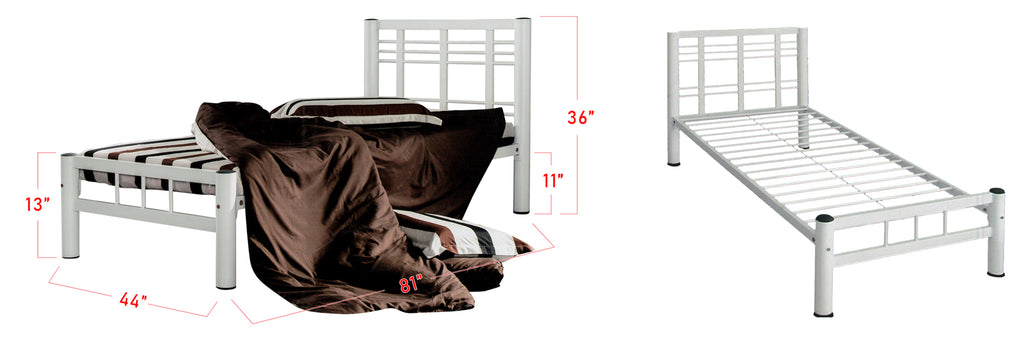 Camila Series 3 Metal Bed Frame White In Super Single Size