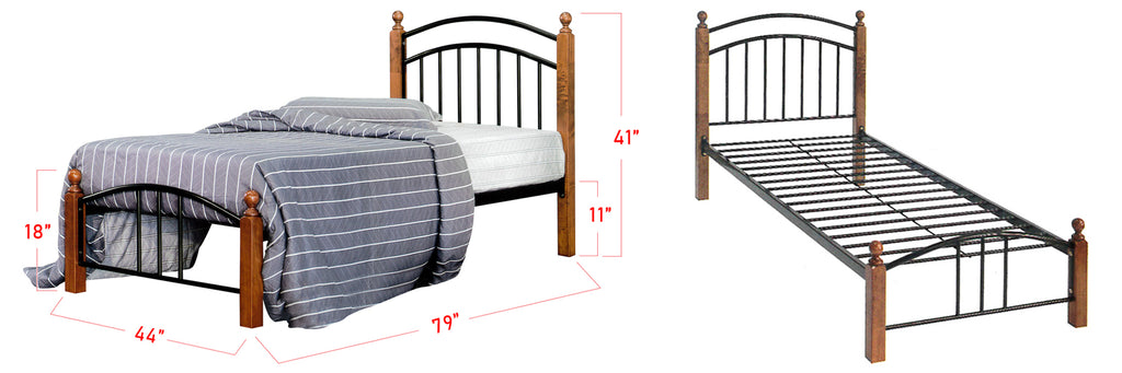 Camila Series 4 Metal Wooden Bed Frame White In Super Single Size