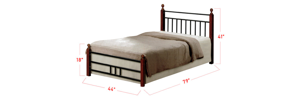 Camila Series 5 Metal Wooden Bed Frame Brown In Super Single Size