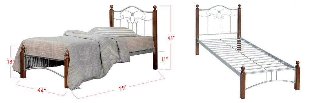 Camila Series 6 Metal Wooden Bed Frame Brown In Super Single Size