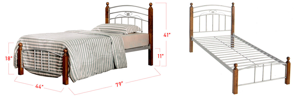 Camila Series 7 Metal Wooden Bed Frame Brown In Super Single Size