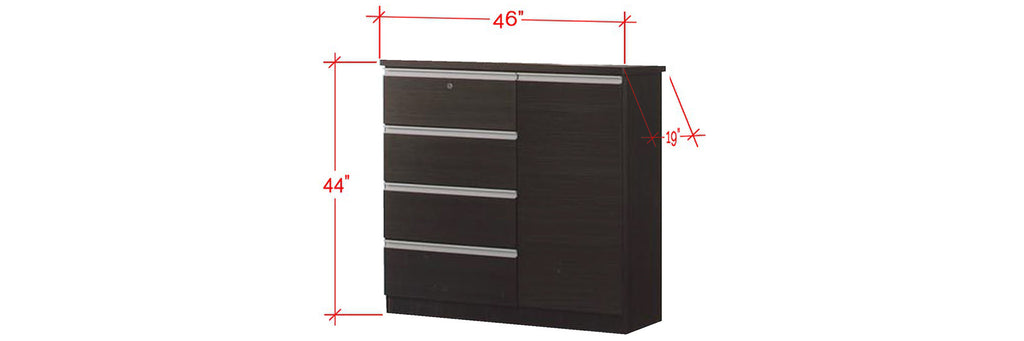 Chandler Series 4 Drawer Chest With Cabinet In Black