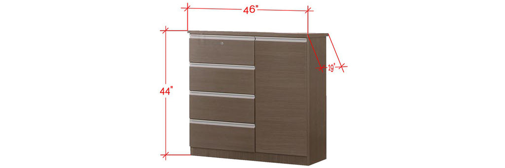 Chandler Series 4 Drawer Chest With Cabinet In Brown