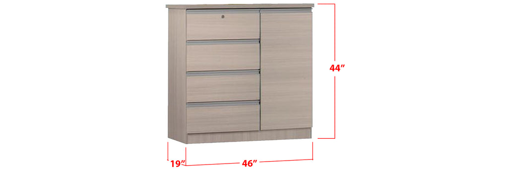 Chandler Series 4 Drawer Chest With Cabinet In White Wash