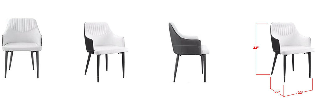 Chloe Faux Leather Dining Chair In Black White