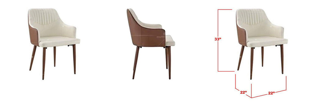 Chloe Faux Leather Dining Chair In Brown White