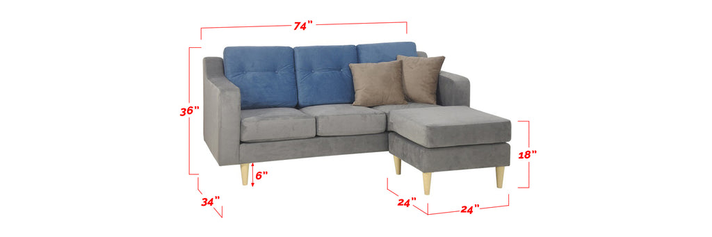 Cindra 3 Seater Fabric Sofa With Stool In Grey/ Blue