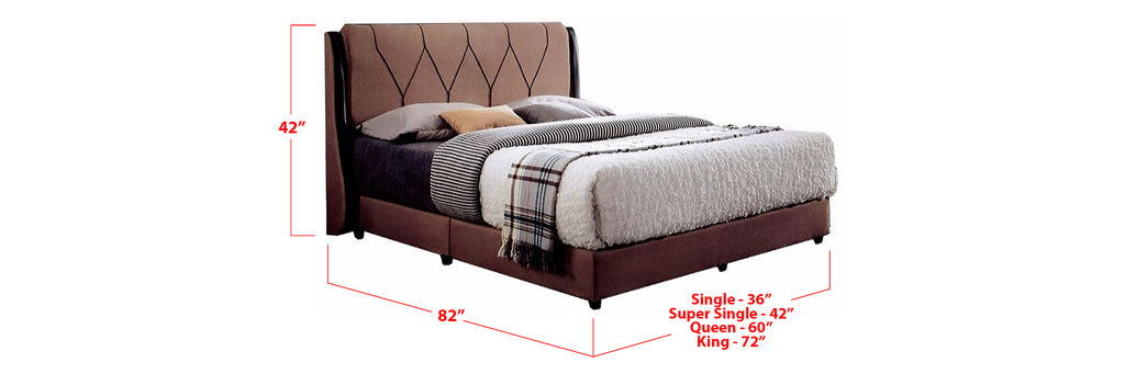 Dacia Fabric Bed Frame Brown In Single, Super Single, Queen, and King Size