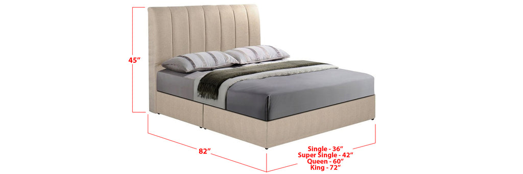 Dani Fabric Bed Frame Beige In Single, Super Single, Queen, and King Size
