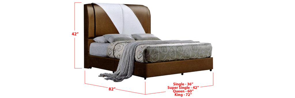 Darby Faux Leather Bed Frame Brown White In Single, Super Single, Queen, and King Size