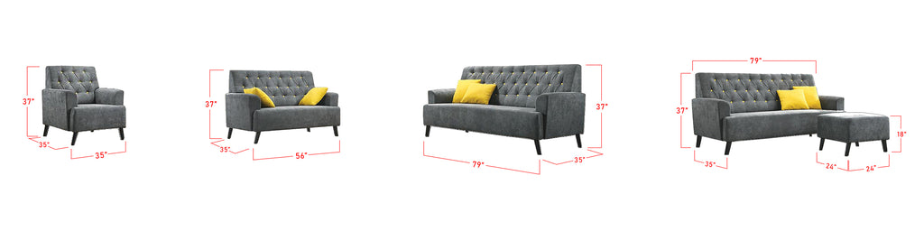 Diana 123 Seater Fabric Leather Sofa Set with Chaise Size