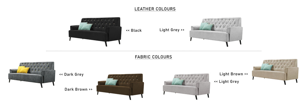 Diana 1 2 3 Seater Fabric Leather Sofa Set with Chaise