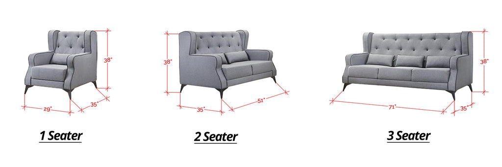 Elizabeth 1/2/3 Seater Mid Century High Back Fabric Sofa Set In 4 Colors