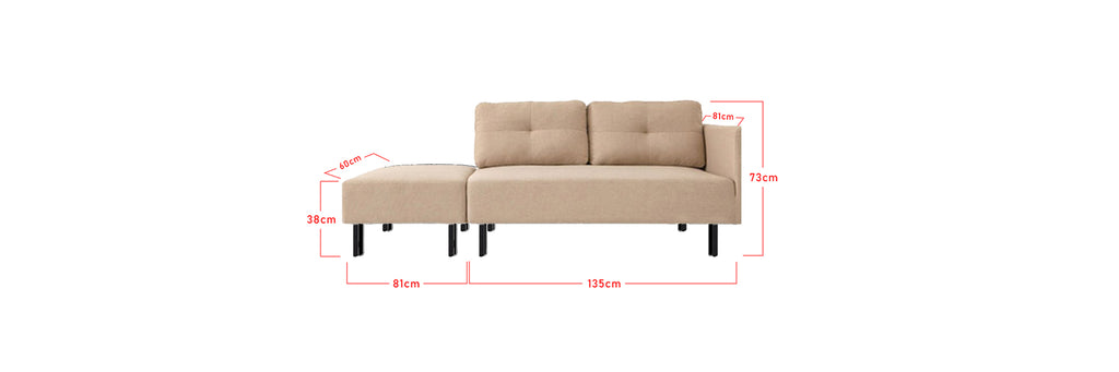 Elson 2 Seater Fabric  Faux Leather Sofa With Stool