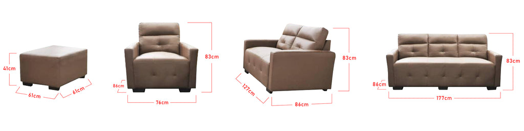 Emersy 2 Seater L-Shaped Half Genuine Cowhide Leather Sofa in 6 Colours