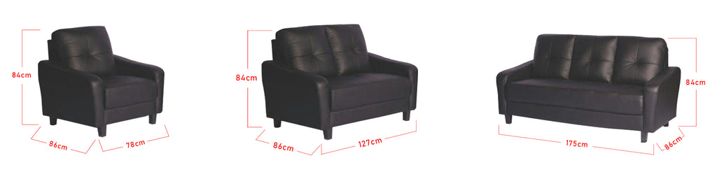 Esther 1 2 3 Seater Half Genuine Cowhide Leather Sofa in 6 Colours