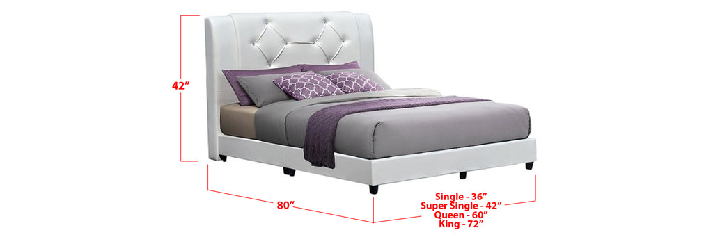 Ezra Faux Leather Bed Frame White In Single, Super Single, Queen, and King Size