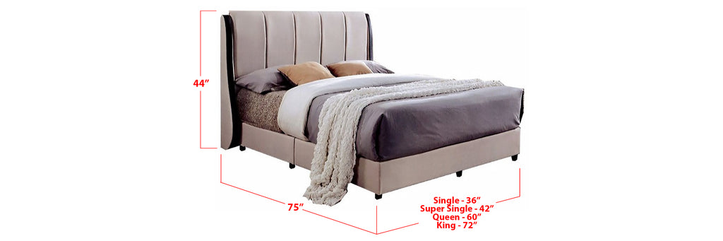 Fala Fabric Bed Frame Beige In Single, Super Single, Queen, and King Size
