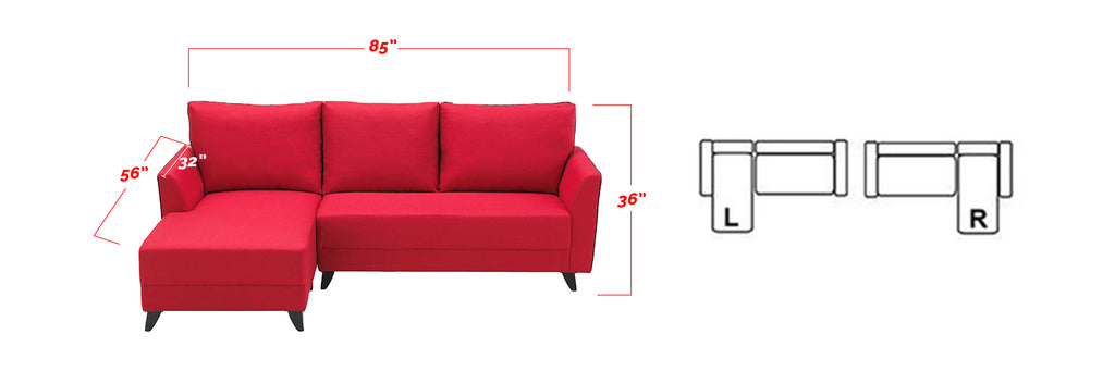 Fausto 3 Seater Fabric L-Shape Sofa in Red