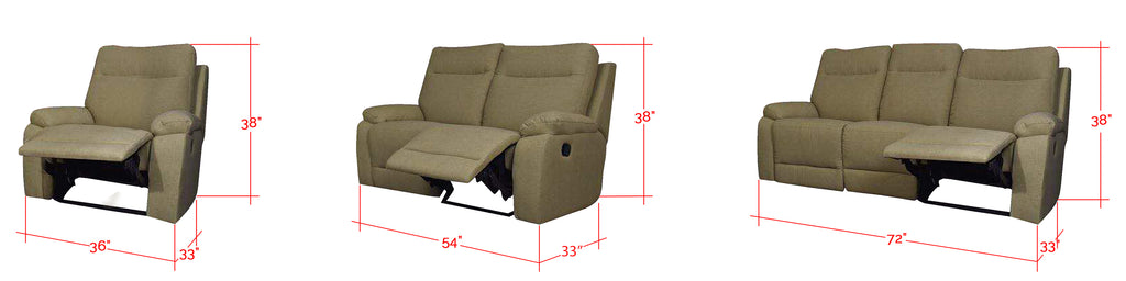 Fileo 1/2/3 Seater 100% Genuine Cowhide Leather Reclining Sofa in Light Brown