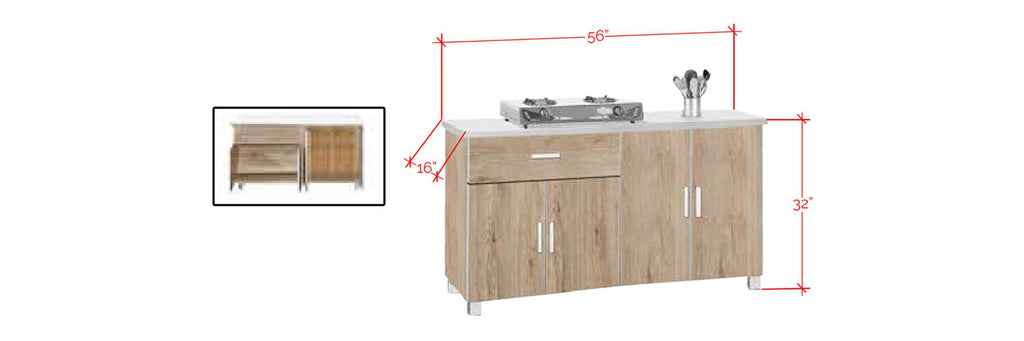 Forza Series 10 Low Kitchen Cabinet In Natural