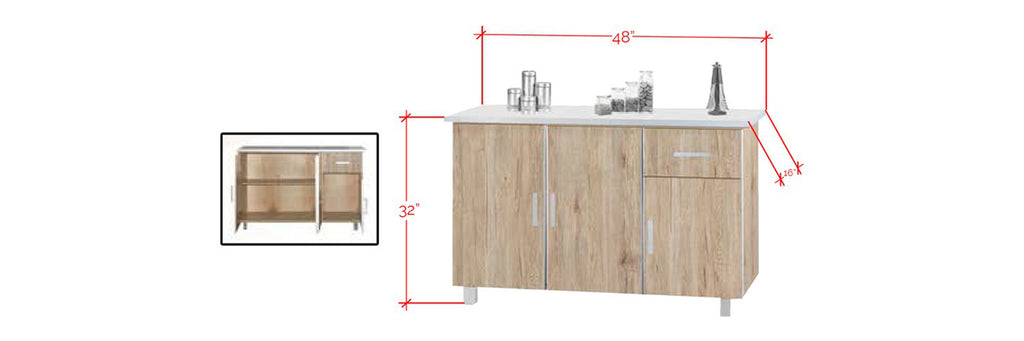 Forza Series 2 Low Kitchen Cabinet In Natural