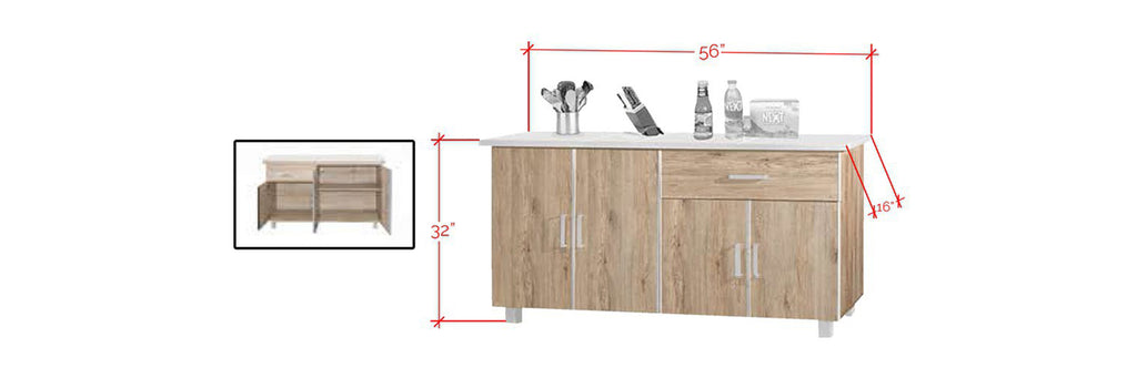 Forza Series 3 Low Kitchen Cabinet In Natural