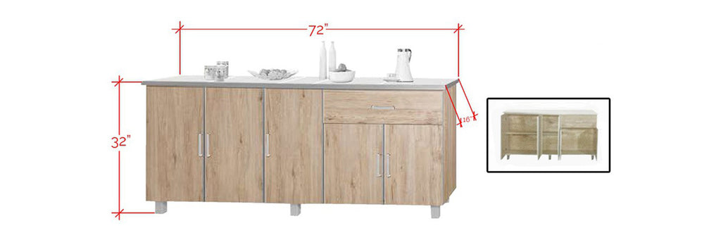 Forza Series 4 Low Kitchen Cabinet In Natural