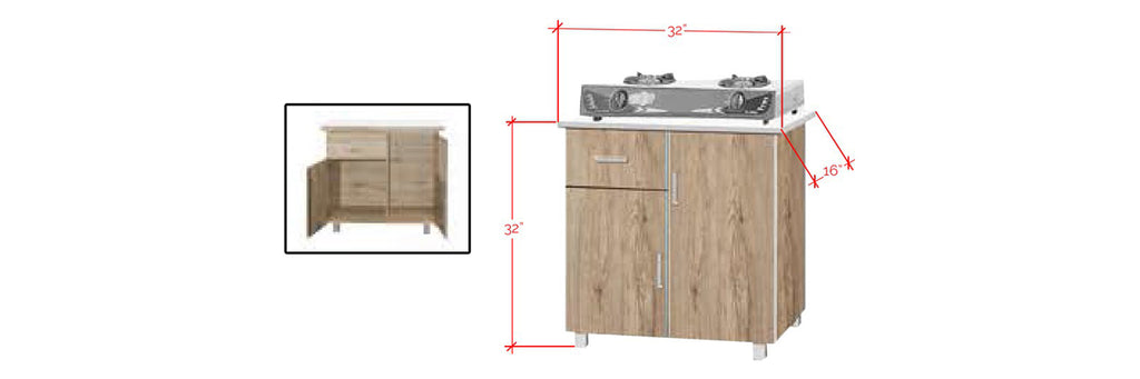 Forza Series 6 Low Kitchen Cabinet In Natural
