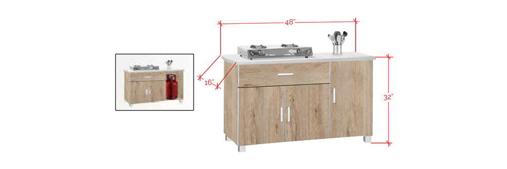 Forza Series 7 Low Kitchen Cabinet In Natural