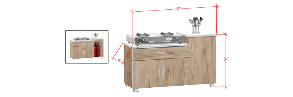 Forza Series 8 Low Kitchen Cabinet In Natural