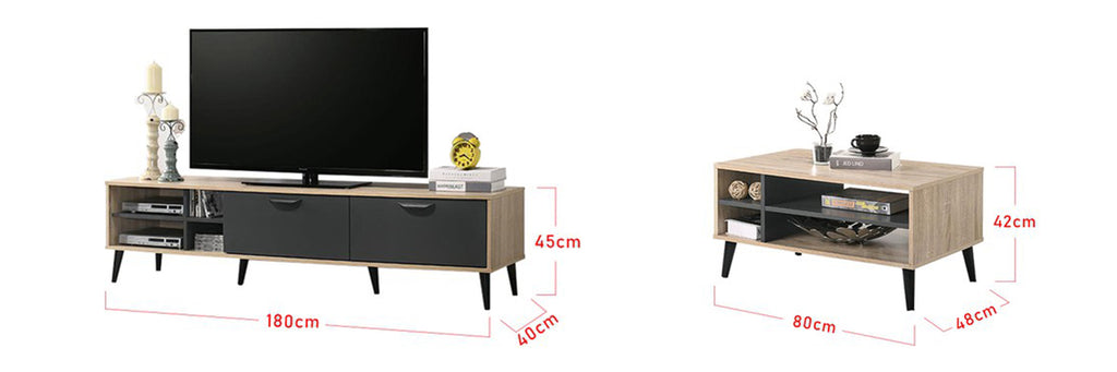 Andy Smart Series 6 Ft. TV Console And Coffee Table Set In Natural/ Black