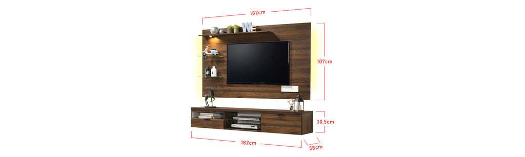 Furnituremart Kaia Wooden 6 Feet Wall Mounted Media Cabinet With LED Backlight