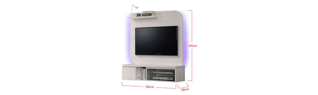 Furnituremart Kayla Wooden 4 Feet Wall Mounted Media Cabinet With LED Backlight