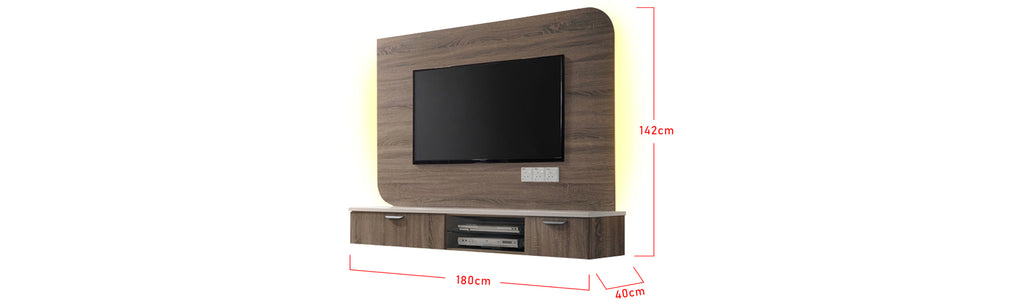Furnituremart Kennedi Wooden 6 Feet Wall Mounted Media Cabinet With LED Backlight
