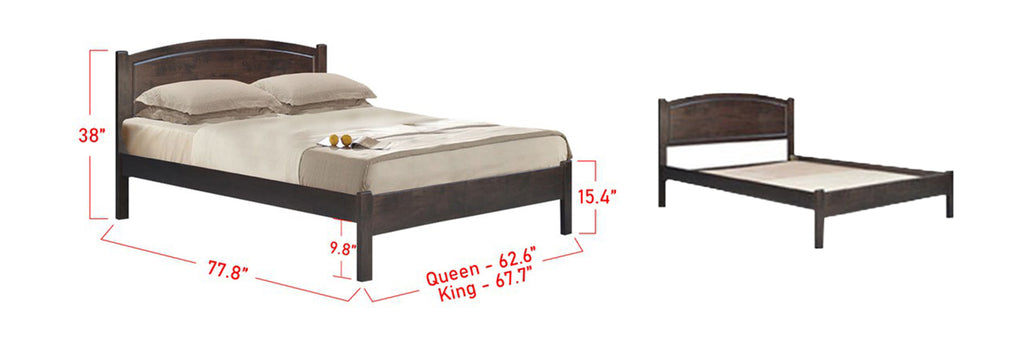 Giuliano Wooden Bed Frame Dark Brown In Queen and King Size