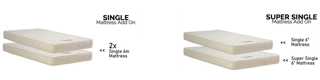 Gurney 3 in 1 Fabric and Leather Bed Frame, Pull Out Bed, and Mattress Light Grey In Single and Super Single Size