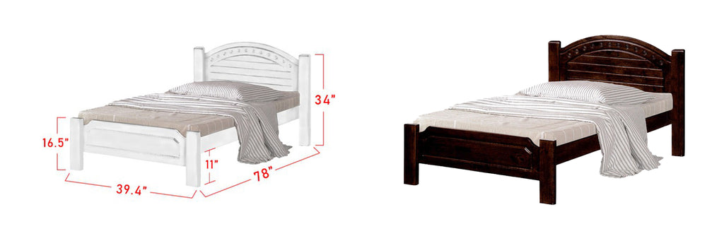 Harlow Wooden Bed Frame White, and Walnut In Super Single Size