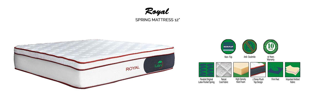 """I Latex 12"""" Royal Latex Spring Mattress- In Single, Super Single, Queen and King Size"""