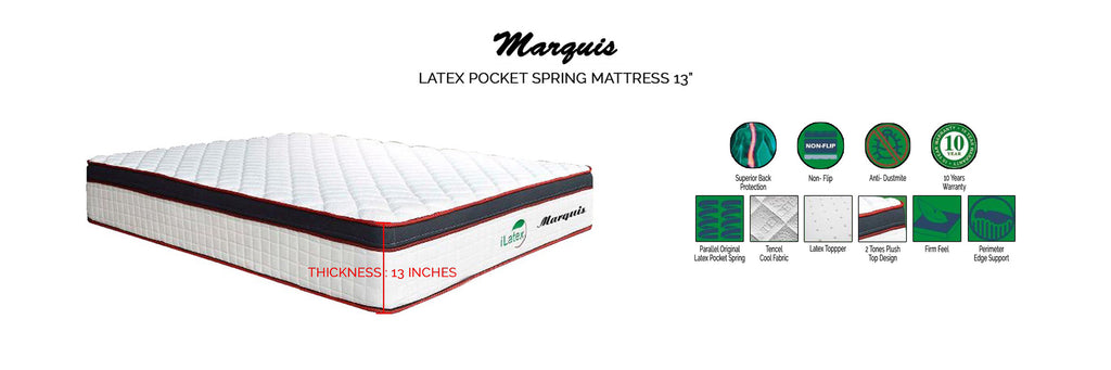 I Latex 13 Marquis Latex Pocket Spring Mattress- In Single, Super Single, Queen and King Size