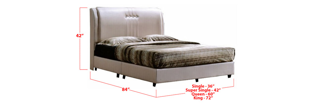 Jace Faux Leather Bed Frame Beige In Single, Super Single, Queen, and King Size