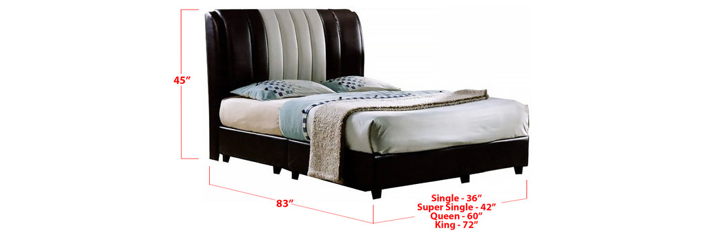 Jacee Faux Leather Bed Frame In Single, Super Single, Queen, and King Size