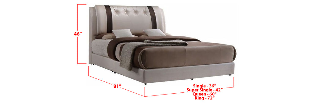 Jennis Faux Leather Bed Frame Beige In Single, Super Single, Queen, and King Size