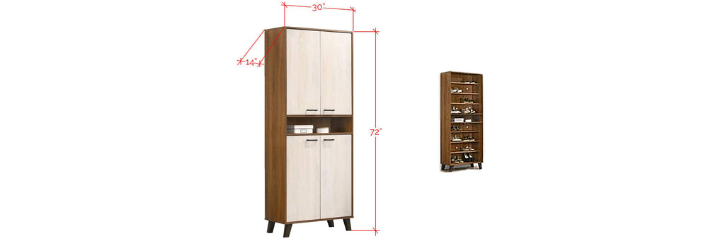 Jinnie Series Tall Shoe Cabinet In Brown/ White