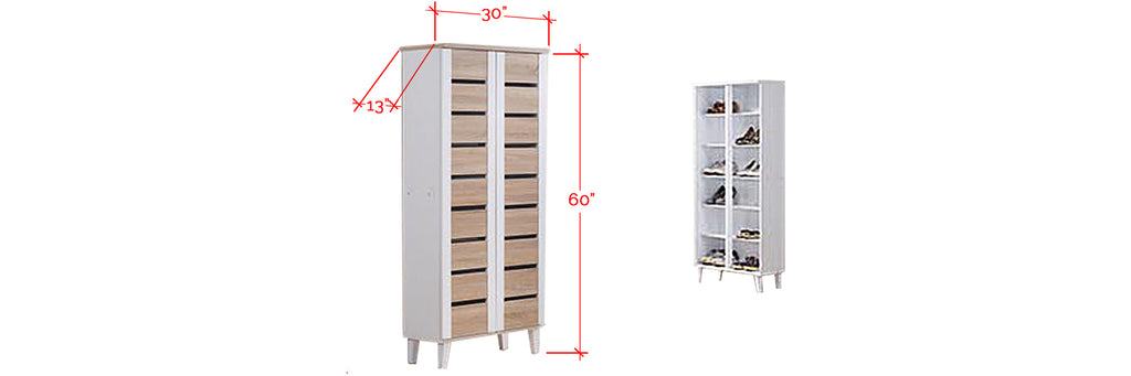 Jinnie Series Tall Shoe Cabinet In White Natural