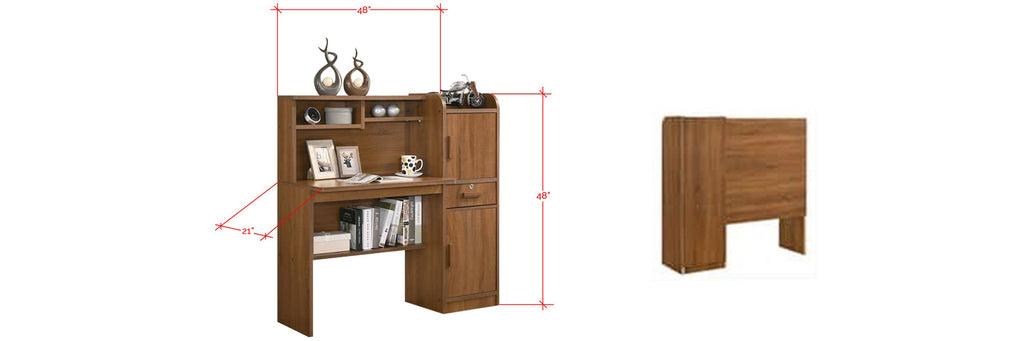 Kai Wooden Study Table With Storage In Natural And Brown