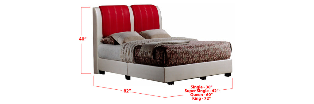Kaleigh Faux Leather Bed Frame Beige In Single, Super Single, Queen, and King Size